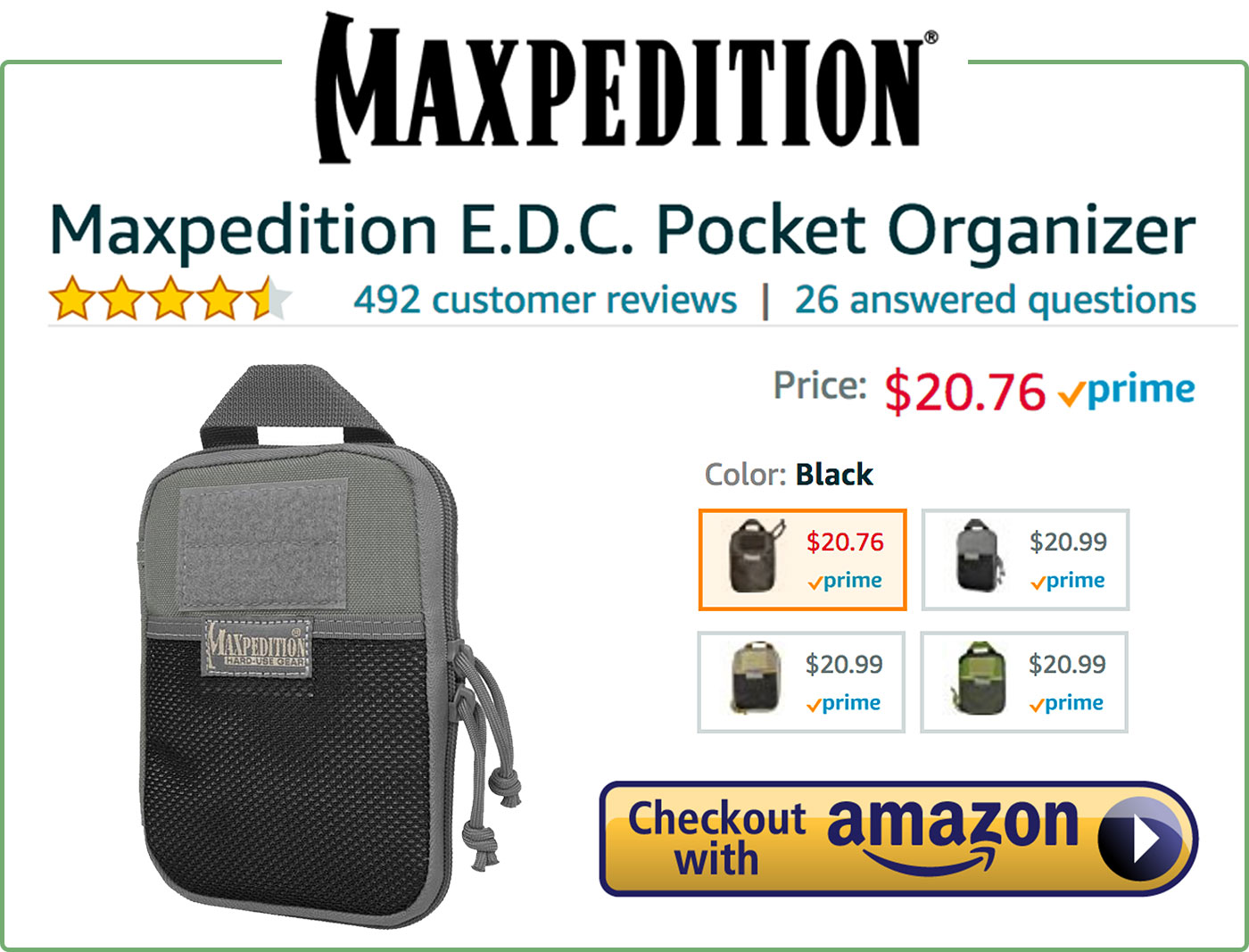 Maxpedition E.D.C. Pocket Organizer Buy Now Box