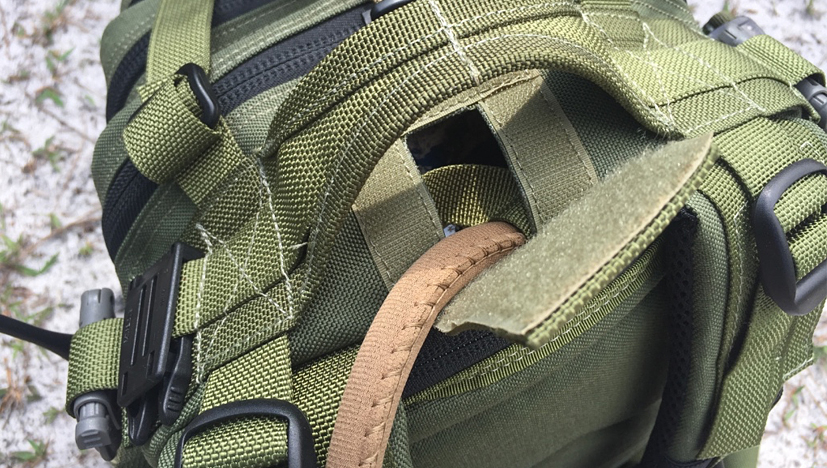 Maxpedition Falcon-II Backpack hydration pass thru closeup