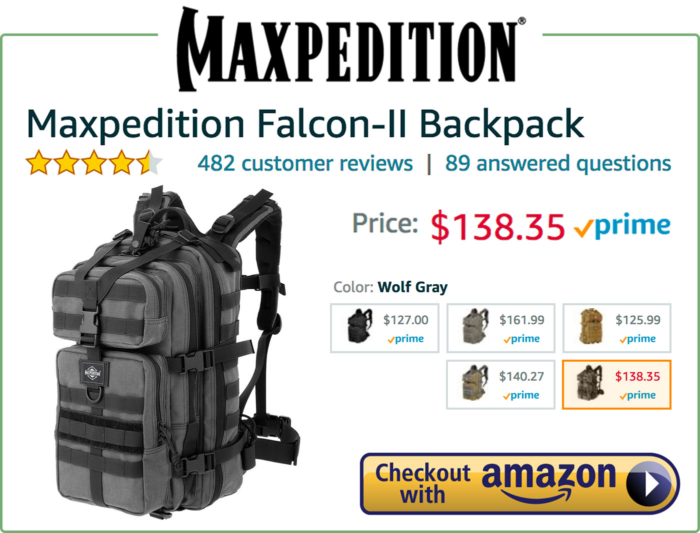 Maxpedition Falcon-II Backpack Buy Now Box