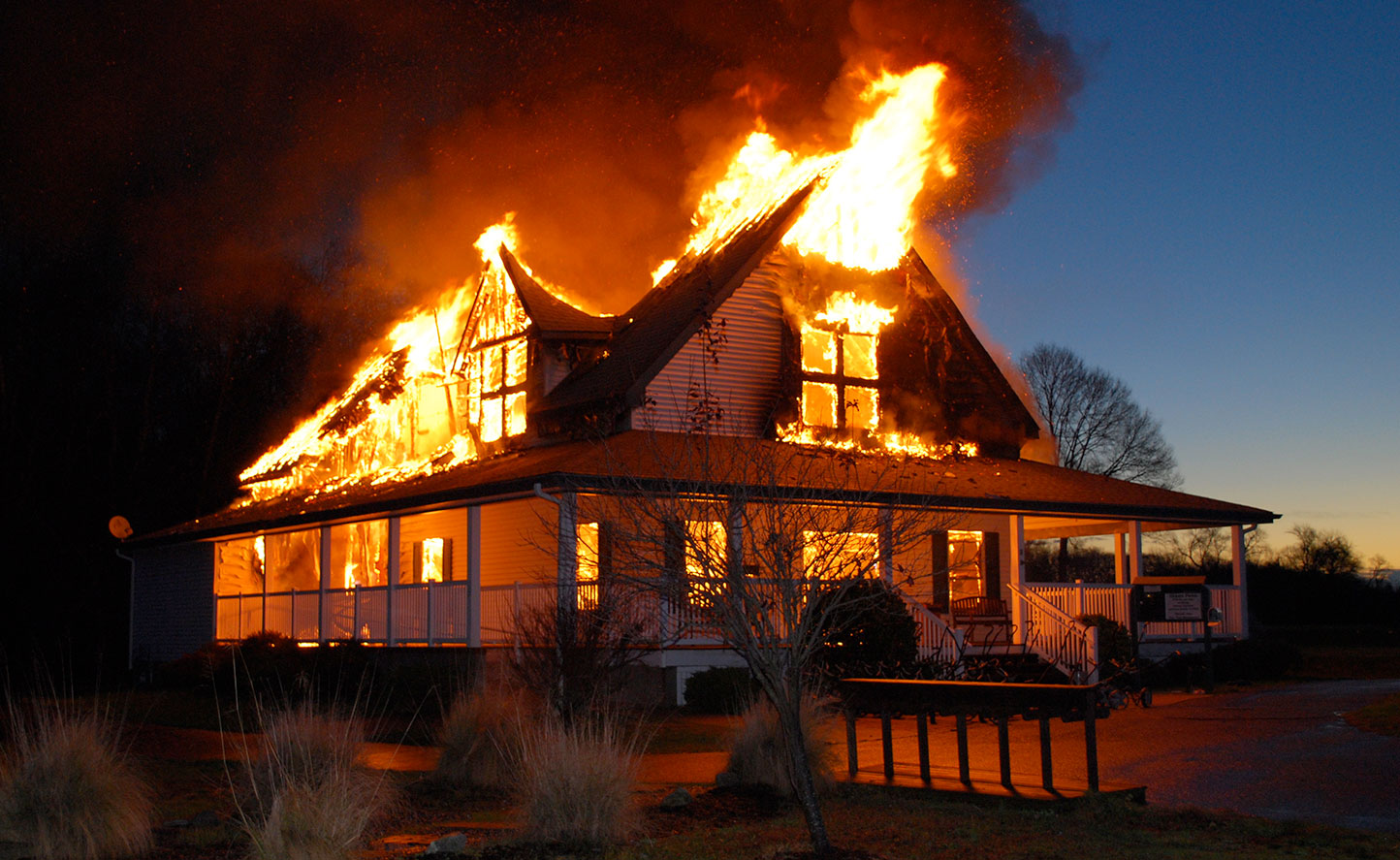 House on Fire image. Get out guick with a WUSH bag and rebuild your life.