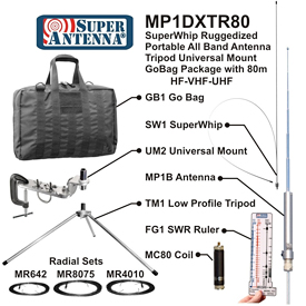 Super Antenna MP1DXTR80 HF SuperWhip Tripod All Band