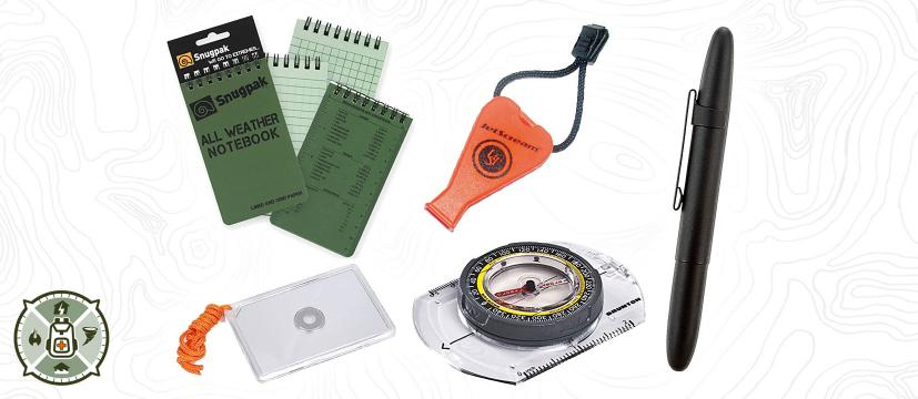 BOBB Emergency Nav & Coms Kit Header Image: Notepad, Whistle, Signal Mirror and Compass